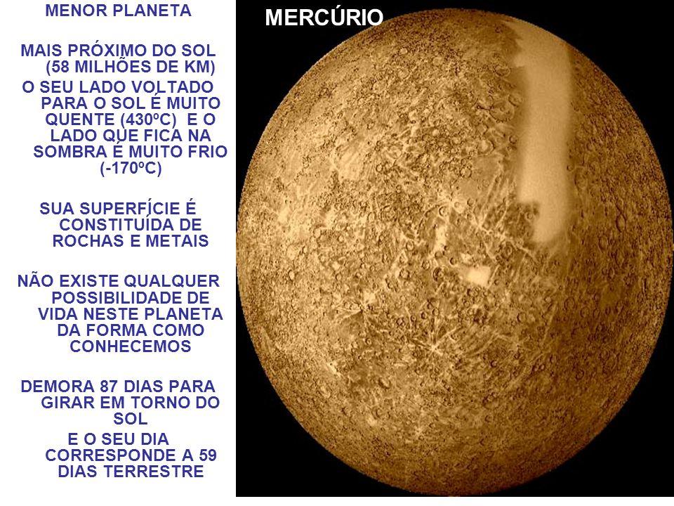 MERCÚRIO MENOR PLANETA MAIS PRÓXIMO DO SOL (58 MILHÕES DE KM)