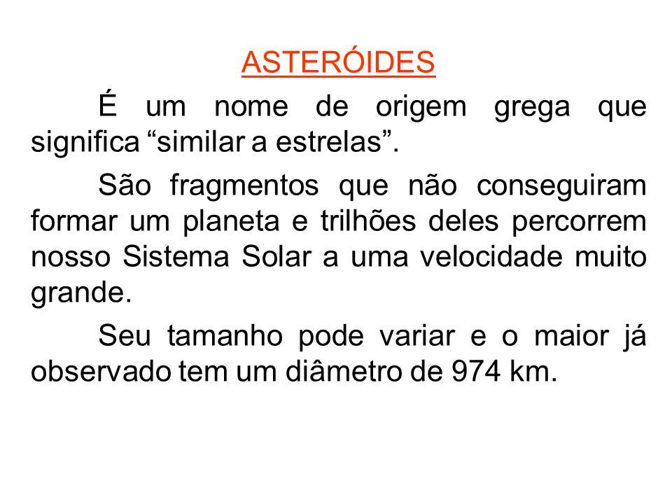 ASTERÓIDES É um nome de origem grega que significa similar a estrelas .