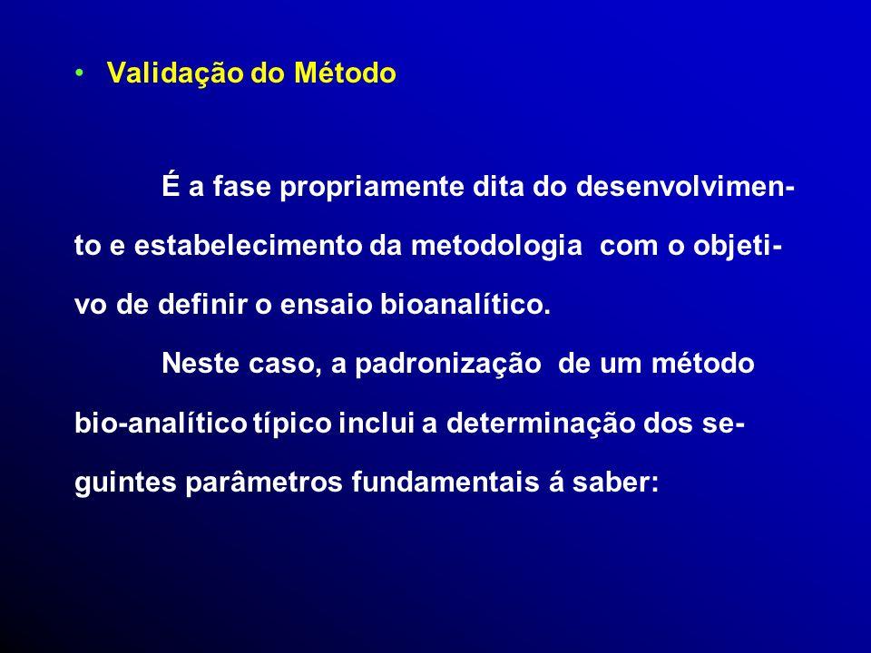 Validação do Método É a fase propriamente dita do desenvolvimen- to e estabelecimento da metodologia com o objeti-