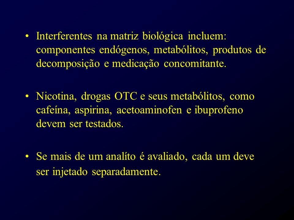 Interferentes na matriz biológica incluem: componentes endógenos, metabólitos, produtos de decomposição e medicação concomitante.