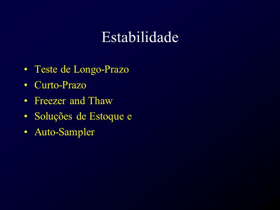 Estabilidade Teste de Longo-Prazo Curto-Prazo Freezer and Thaw