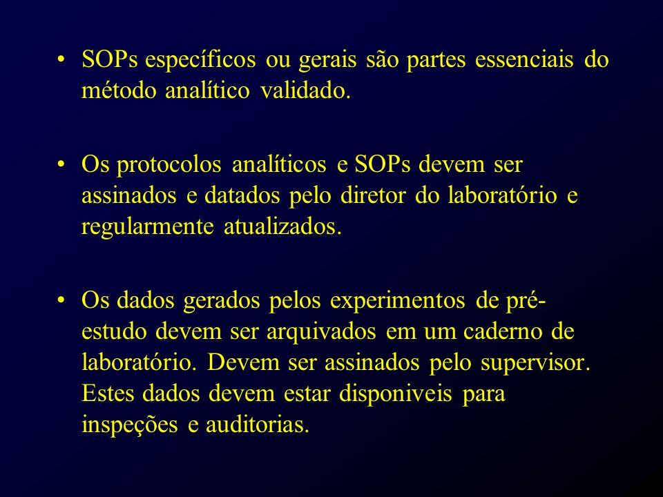 SOPs específicos ou gerais são partes essenciais do método analítico validado.