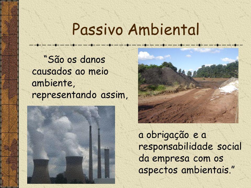 Passivo Ambiental São os danos causados ao meio ambiente, representando assim,