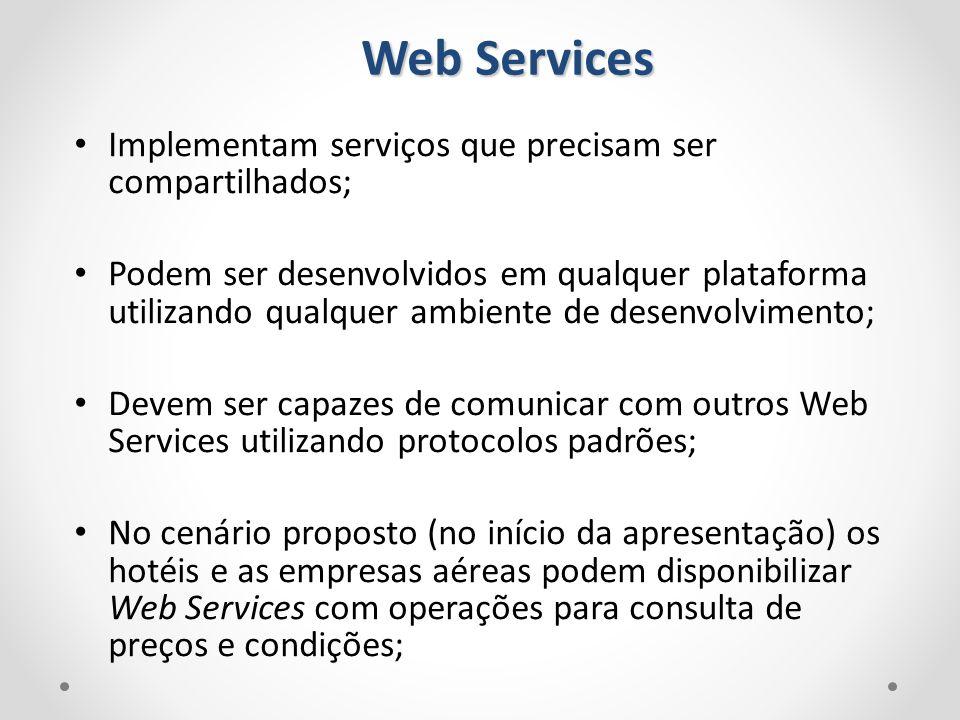 Web Services Implementam serviços que precisam ser compartilhados;