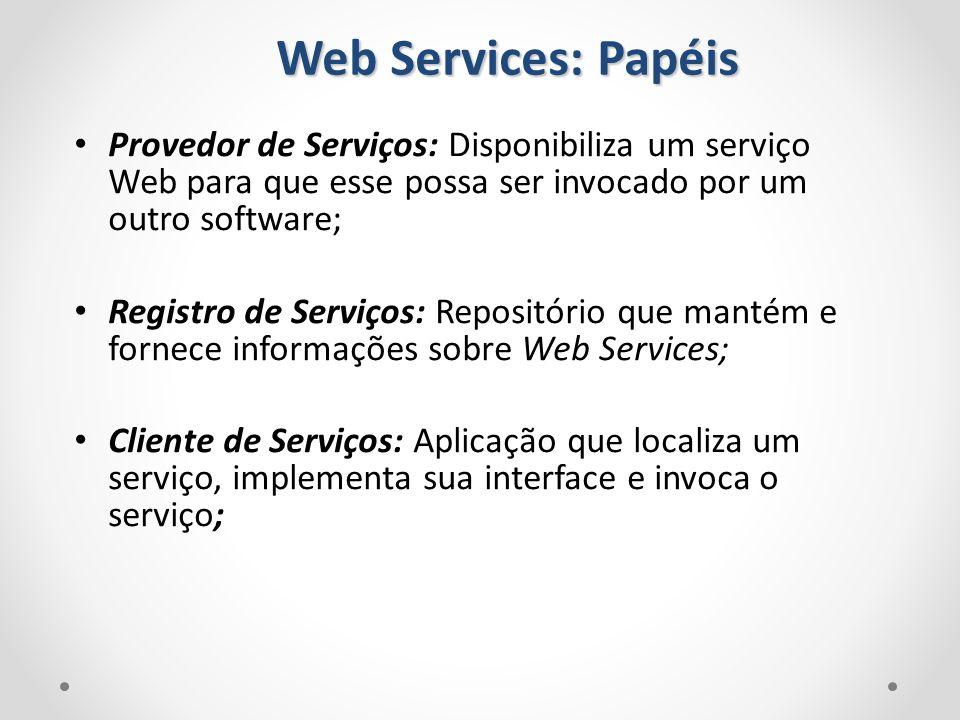 Web Services: Papéis Provedor de Serviços: Disponibiliza um serviço Web para que esse possa ser invocado por um outro software;