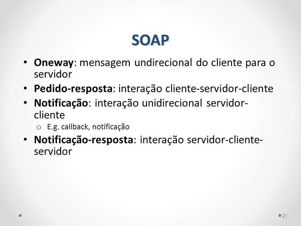 SOAP Oneway: mensagem undirecional do cliente para o servidor