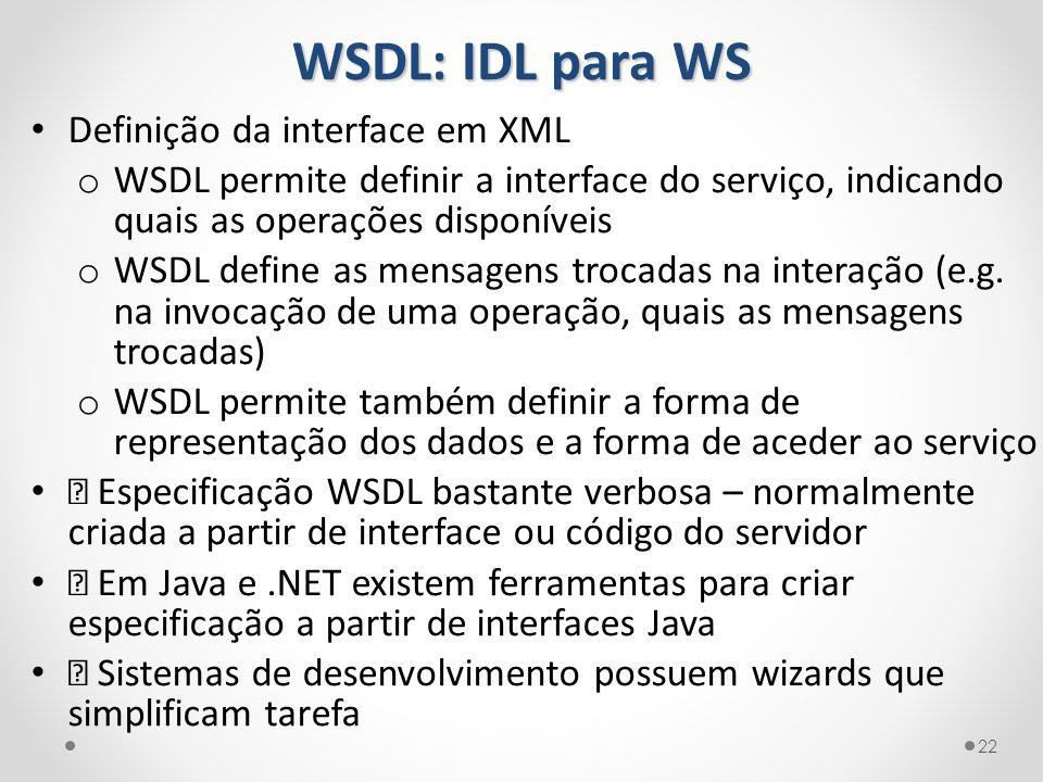 WSDL: IDL para WS Definição da interface em XML