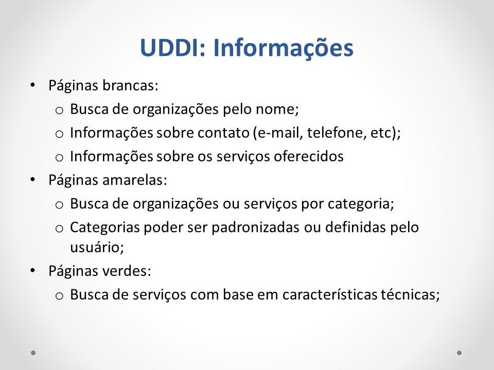 UDDI: Informações Páginas brancas: Busca de organizações pelo nome;