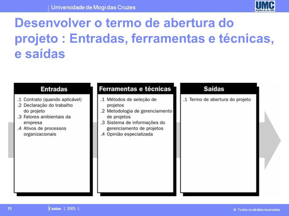 Desenvolver o termo de abertura do projeto : Entradas, ferramentas e técnicas, e saídas