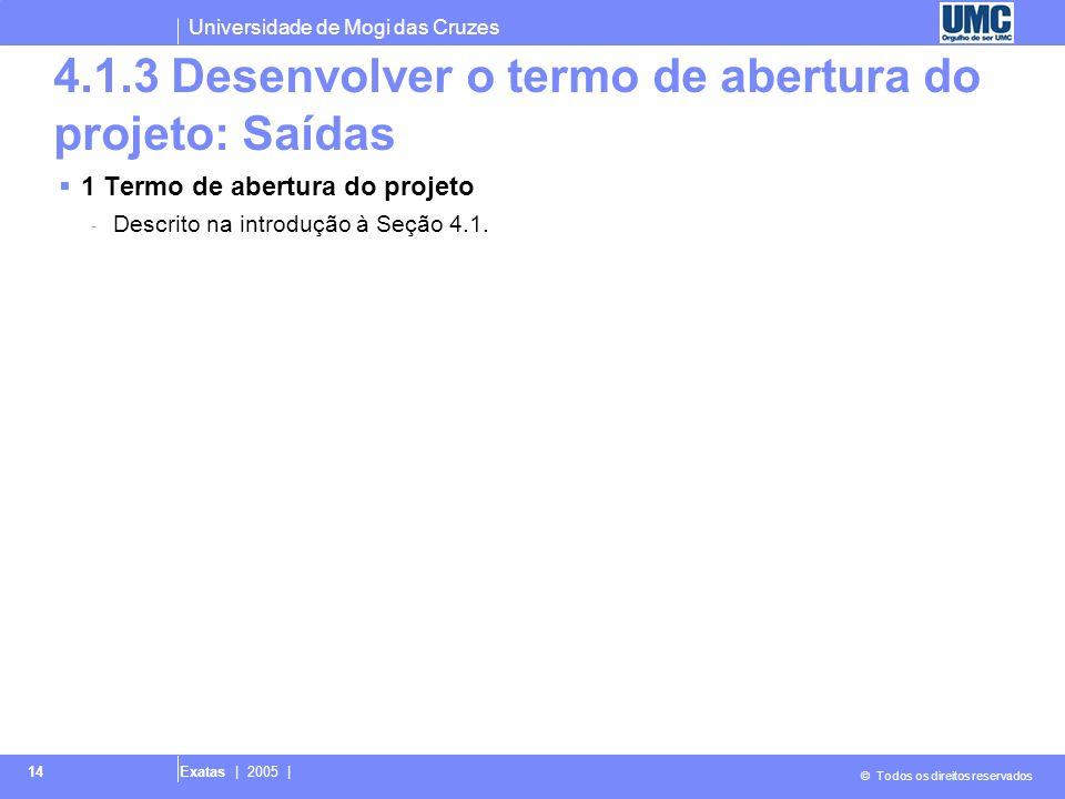 4.1.3 Desenvolver o termo de abertura do projeto: Saídas