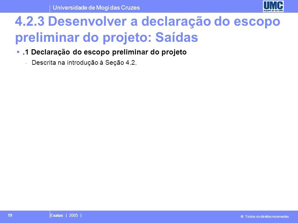 4.2.3 Desenvolver a declaração do escopo preliminar do projeto: Saídas