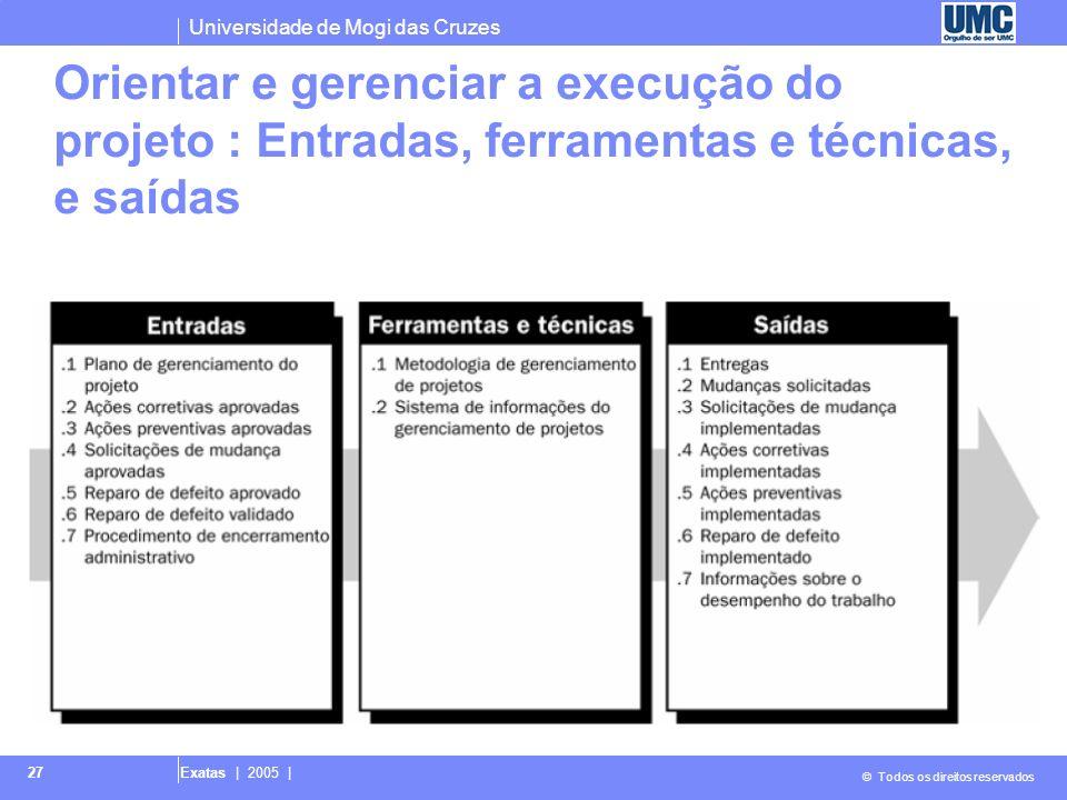 Orientar e gerenciar a execução do projeto : Entradas, ferramentas e técnicas, e saídas