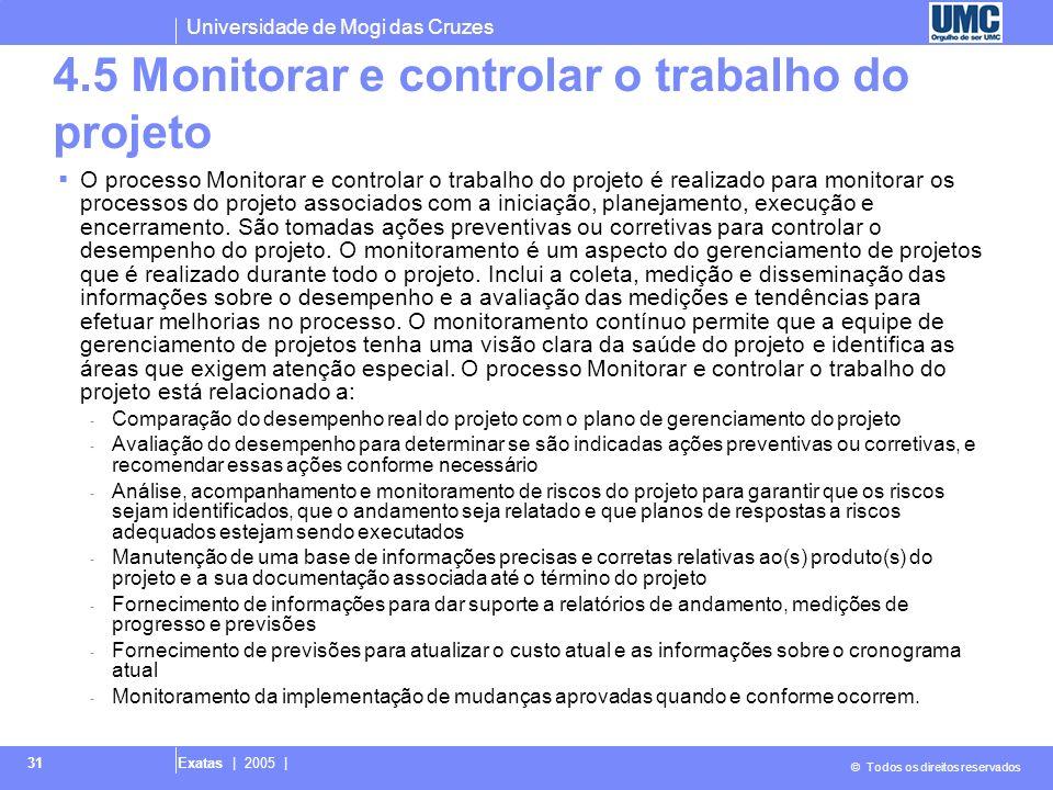 4.5 Monitorar e controlar o trabalho do projeto