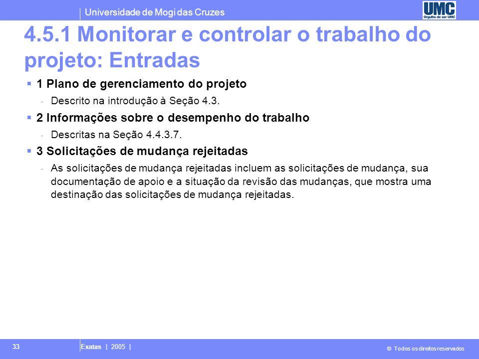 4.5.1 Monitorar e controlar o trabalho do projeto: Entradas