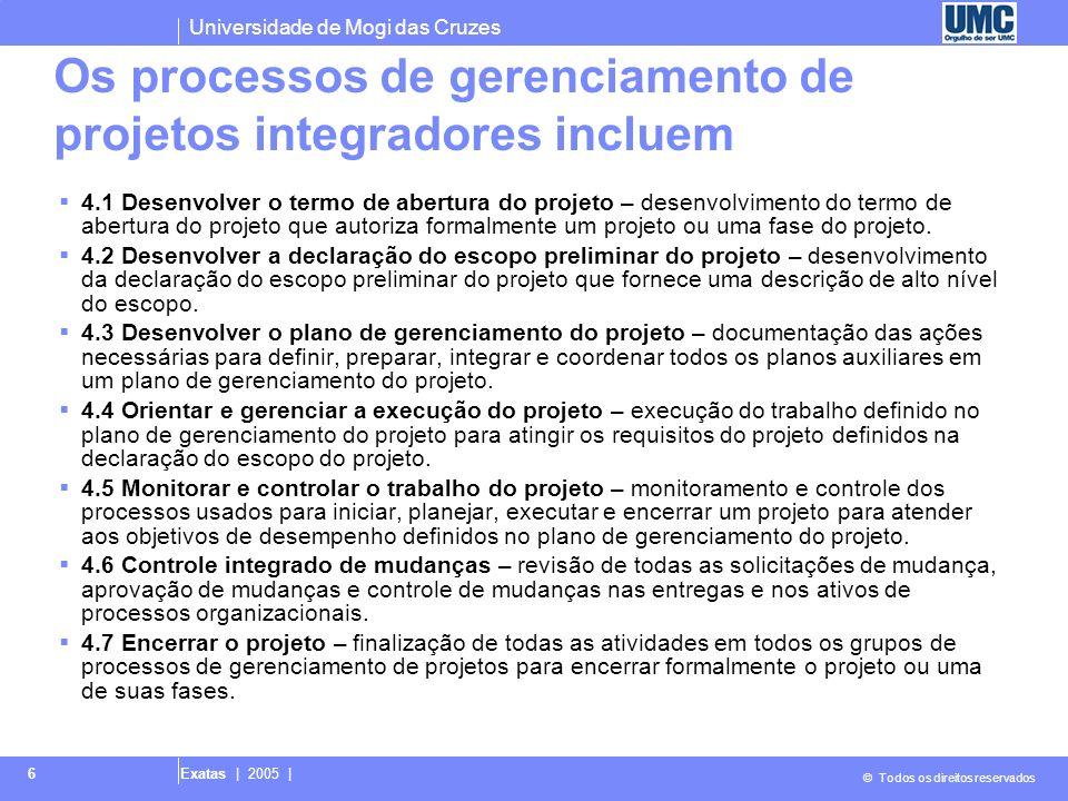Os processos de gerenciamento de projetos integradores incluem