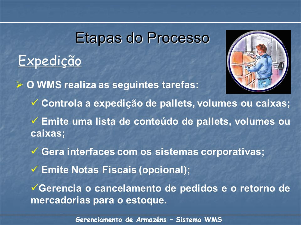 Etapas do Processo Expedição O WMS realiza as seguintes tarefas:
