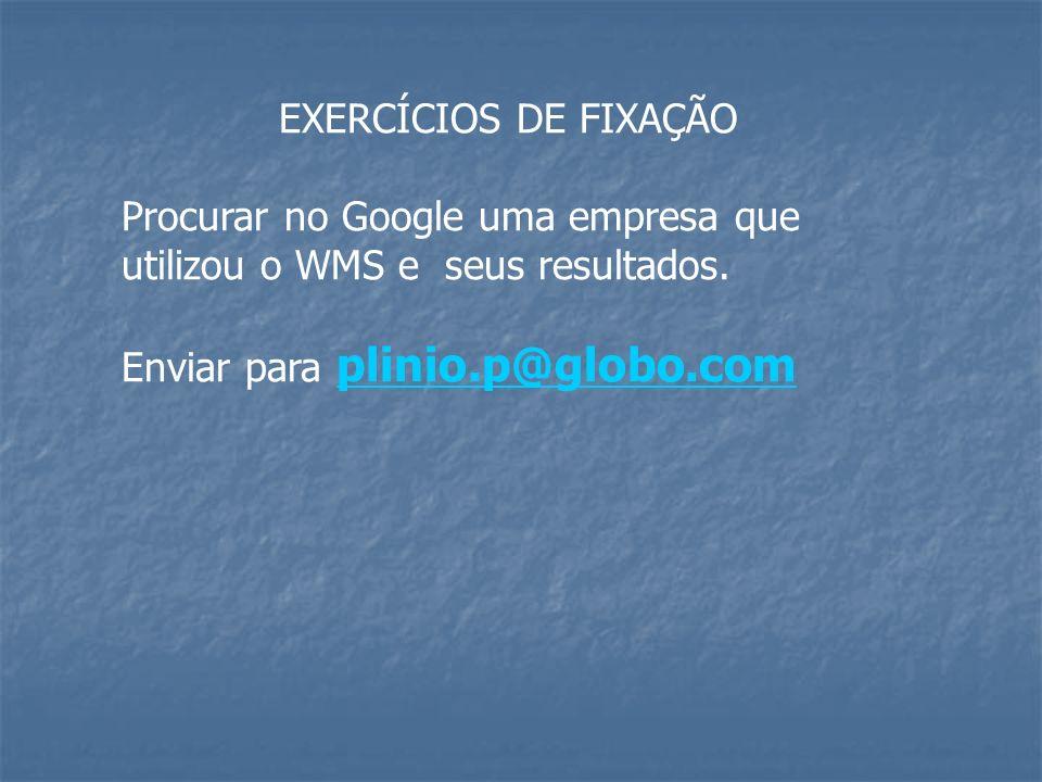 EXERCÍCIOS DE FIXAÇÃO Procurar no Google uma empresa que utilizou o WMS e seus resultados.