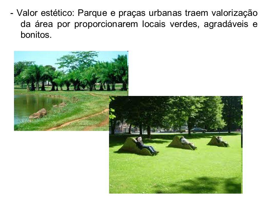 - Valor estético: Parque e praças urbanas traem valorização da área por proporcionarem locais verdes, agradáveis e bonitos.