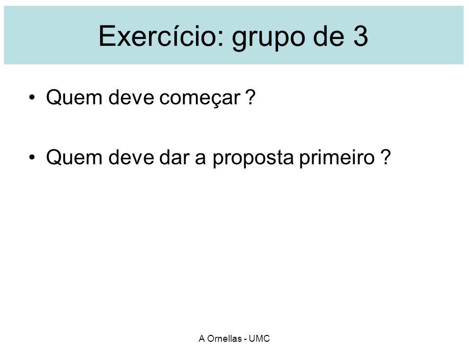 Exercício: grupo de 3 Quem deve começar