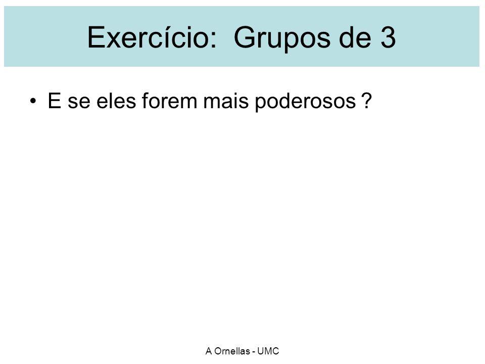 Exercício: Grupos de 3 E se eles forem mais poderosos