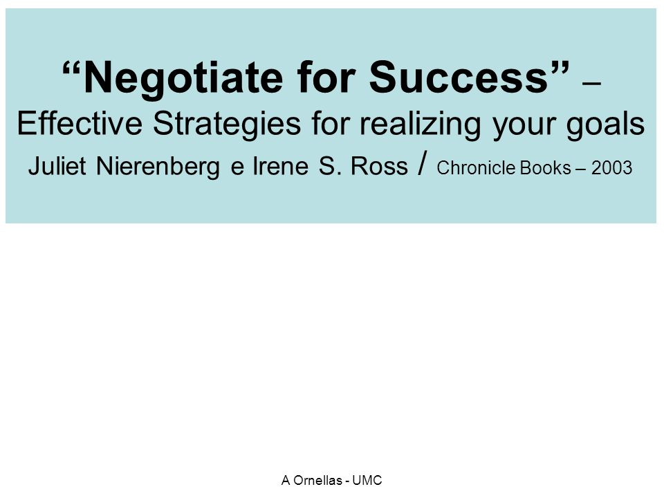 Negotiate for Success –Effective Strategies for realizing your goals Juliet Nierenberg e Irene S. Ross / Chronicle Books – 2003