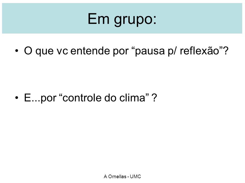 Em grupo: O que vc entende por pausa p/ reflexão