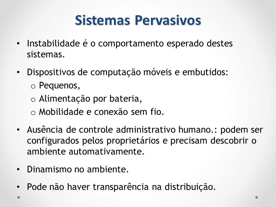 Sistemas Pervasivos Instabilidade é o comportamento esperado destes sistemas. Dispositivos de computação móveis e embutidos: