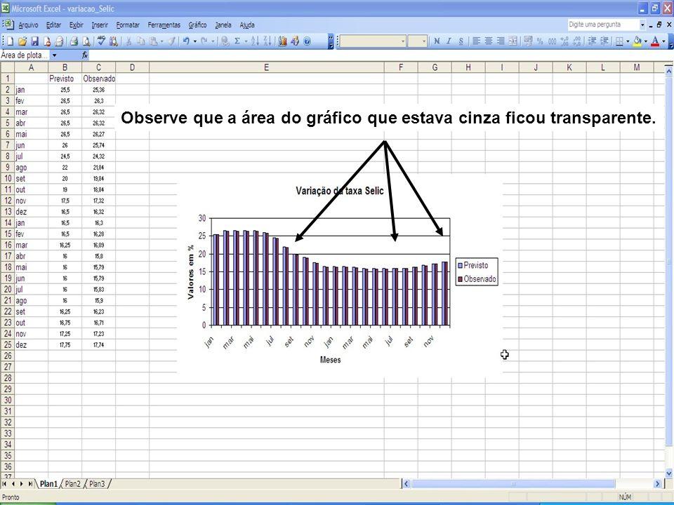 Observe que a área do gráfico que estava cinza ficou transparente.