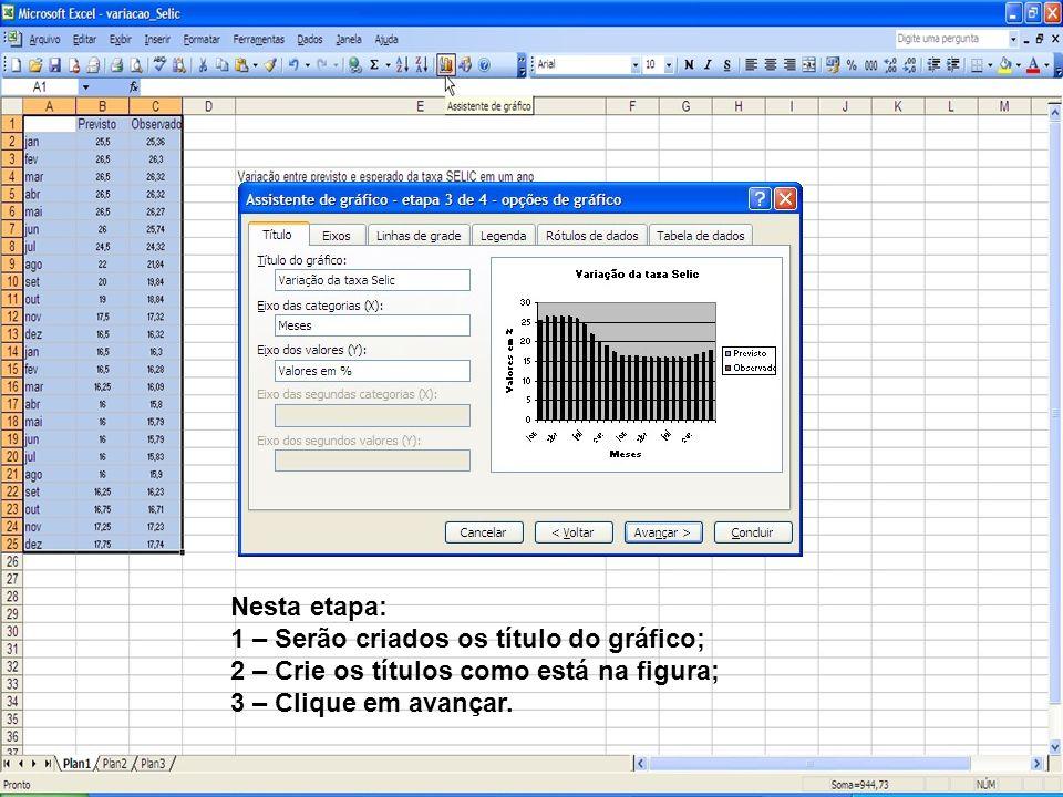 Nesta etapa: 1 – Serão criados os título do gráfico; 2 – Crie os títulos como está na figura; 3 – Clique em avançar.