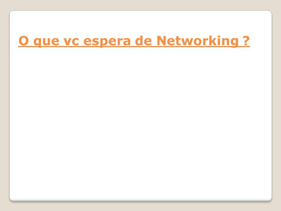 O que vc espera de Networking