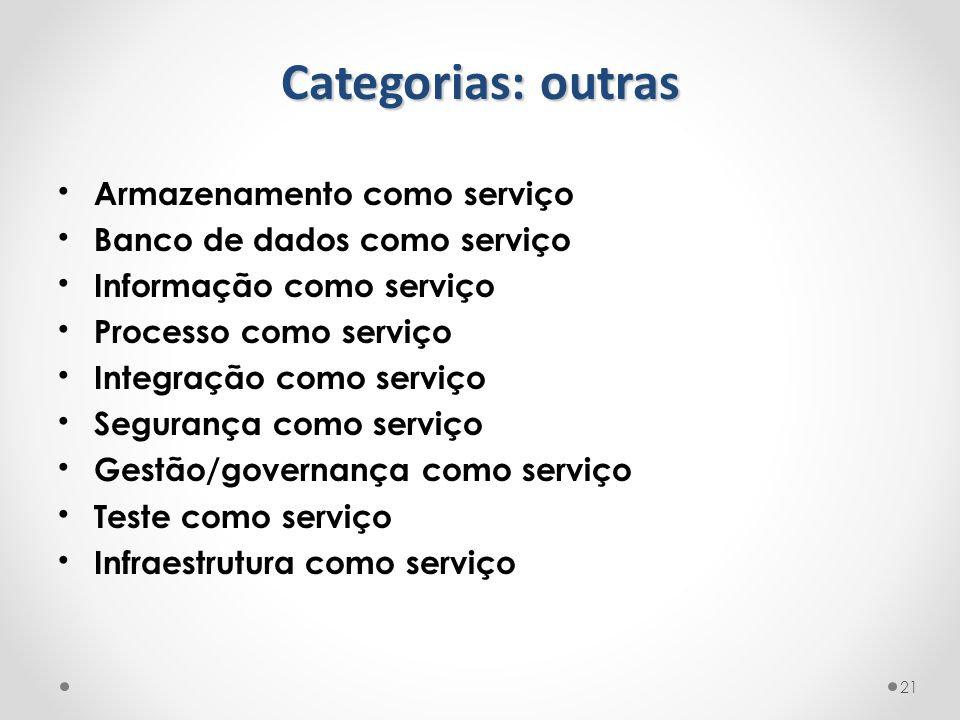 Categorias: outras Armazenamento como serviço