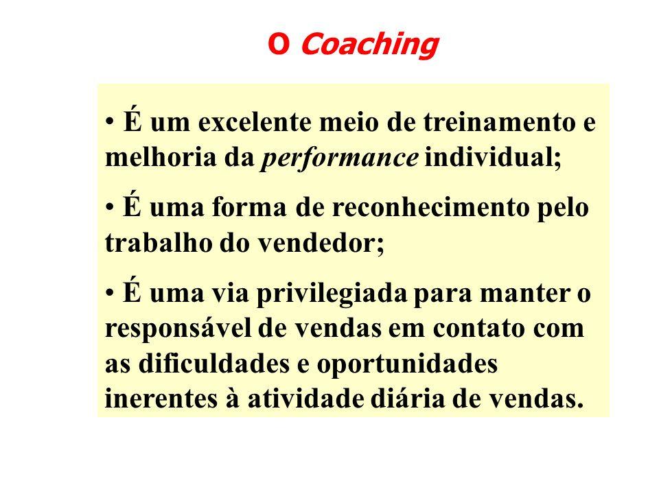 O Coaching É um excelente meio de treinamento e melhoria da performance individual; É uma forma de reconhecimento pelo trabalho do vendedor;