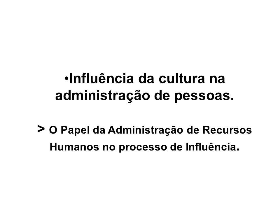 Influência da cultura na administração de pessoas.