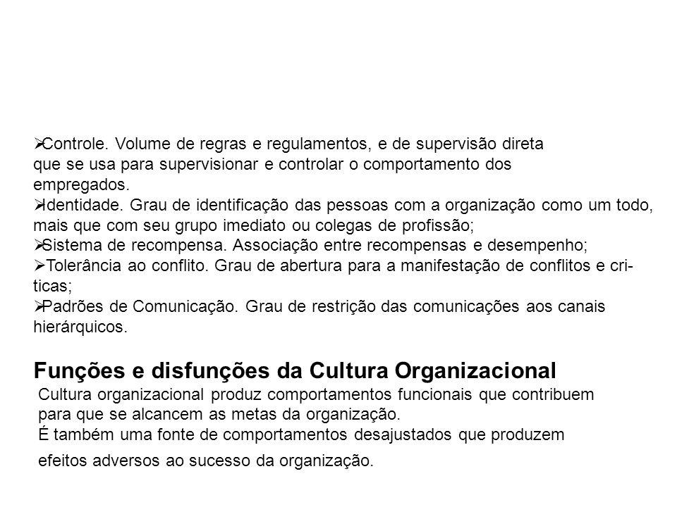 Funções e disfunções da Cultura Organizacional