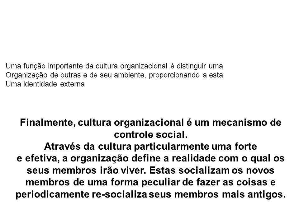 Finalmente, cultura organizacional é um mecanismo de controle social.