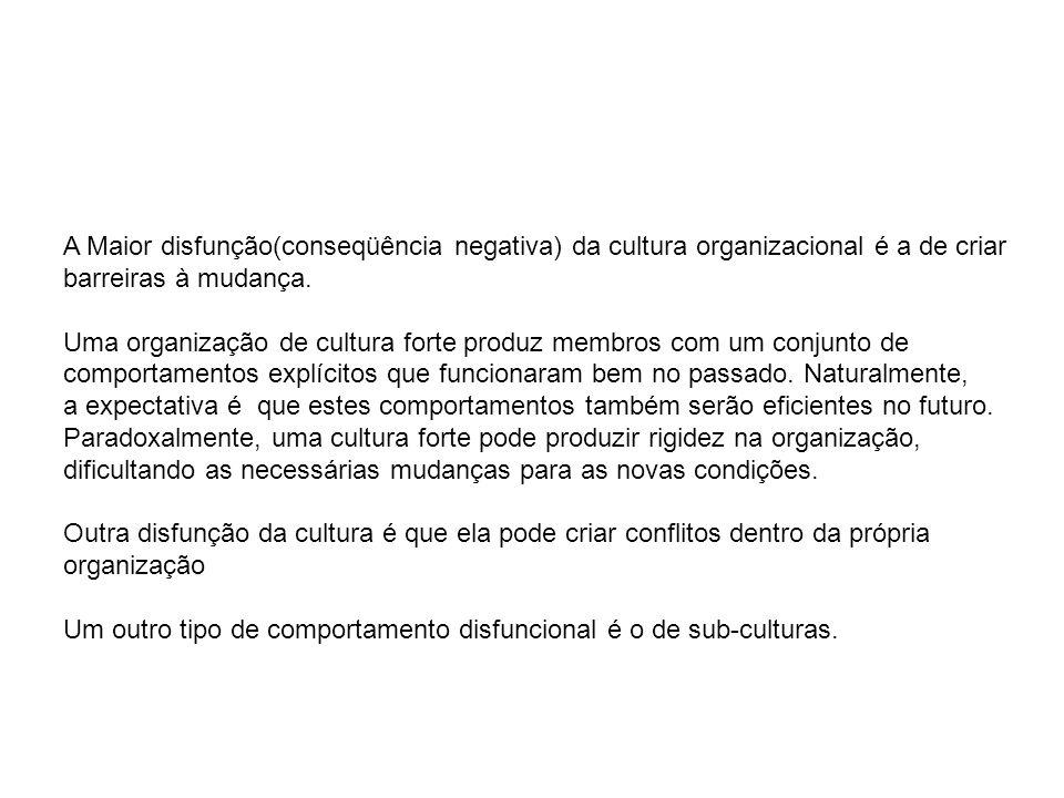 A Maior disfunção(conseqüência negativa) da cultura organizacional é a de criar
