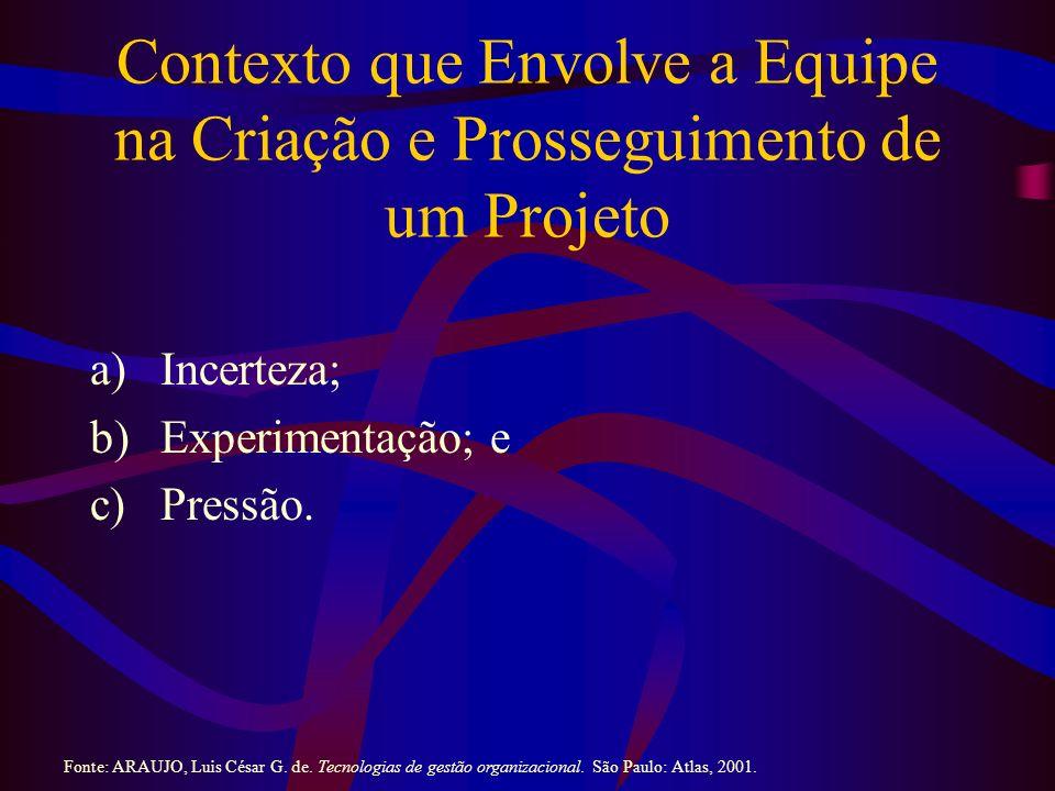 Contexto que Envolve a Equipe na Criação e Prosseguimento de um Projeto