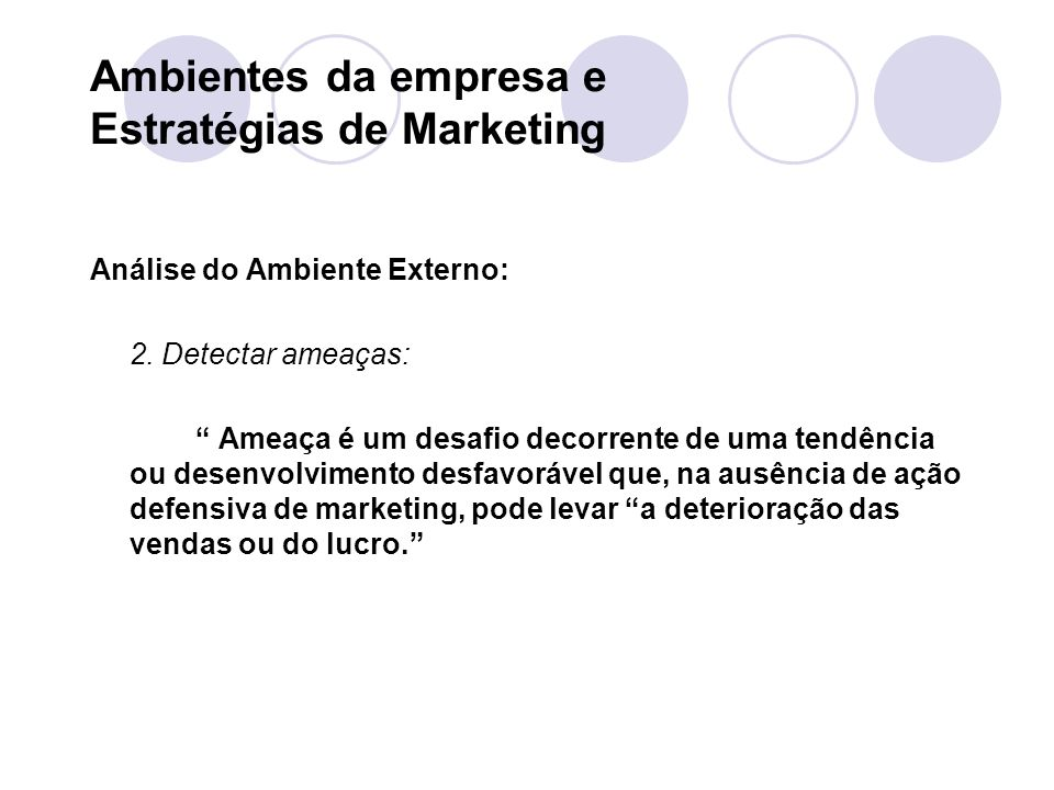 Ambientes da empresa e Estratégias de Marketing