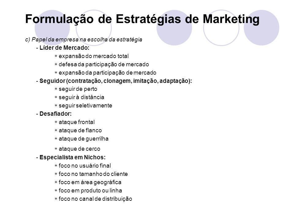 Formulação de Estratégias de Marketing
