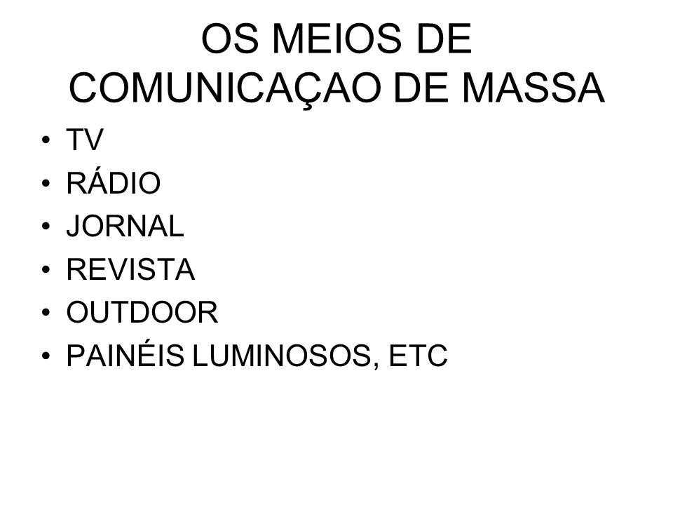 OS MEIOS DE COMUNICAÇAO DE MASSA