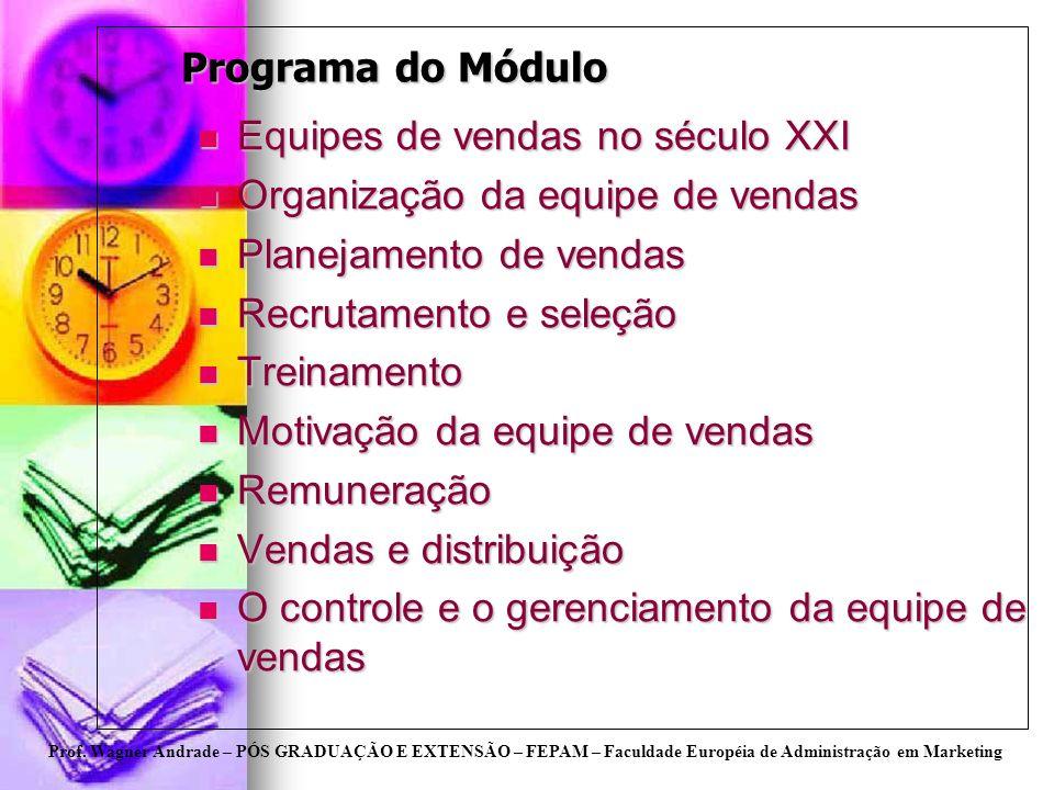 Programa do MóduloEquipes de vendas no século XXI. Organização da equipe de vendas. Planejamento de vendas.