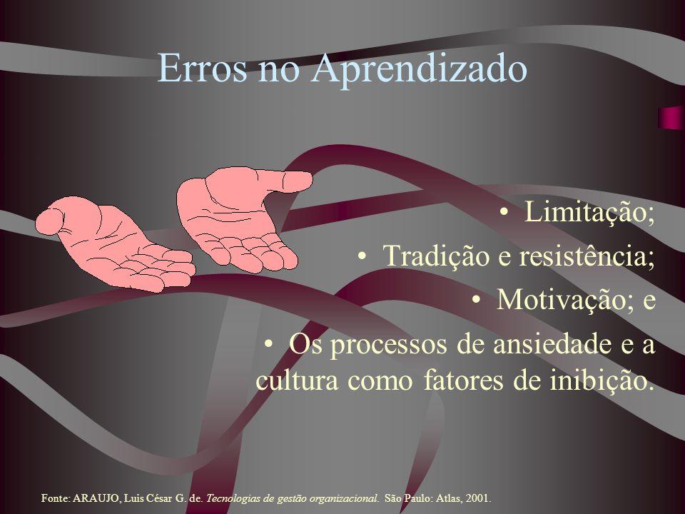Erros no Aprendizado Limitação; Tradição e resistência; Motivação; e