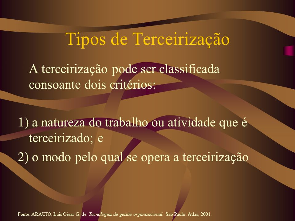 Tipos de Terceirização