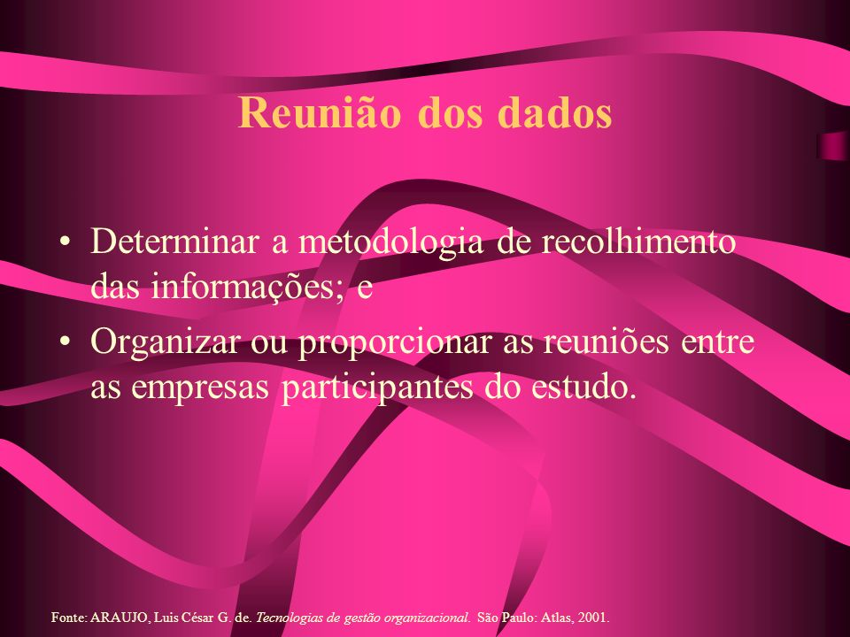 Reunião dos dados Determinar a metodologia de recolhimento das informações; e.