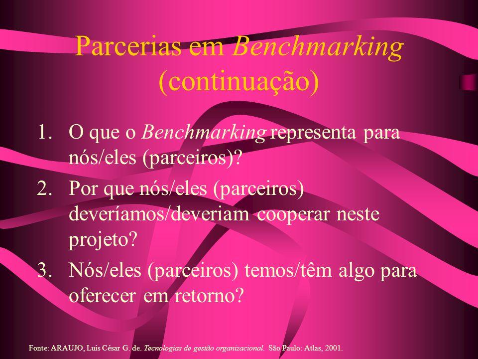 Parcerias em Benchmarking (continuação)