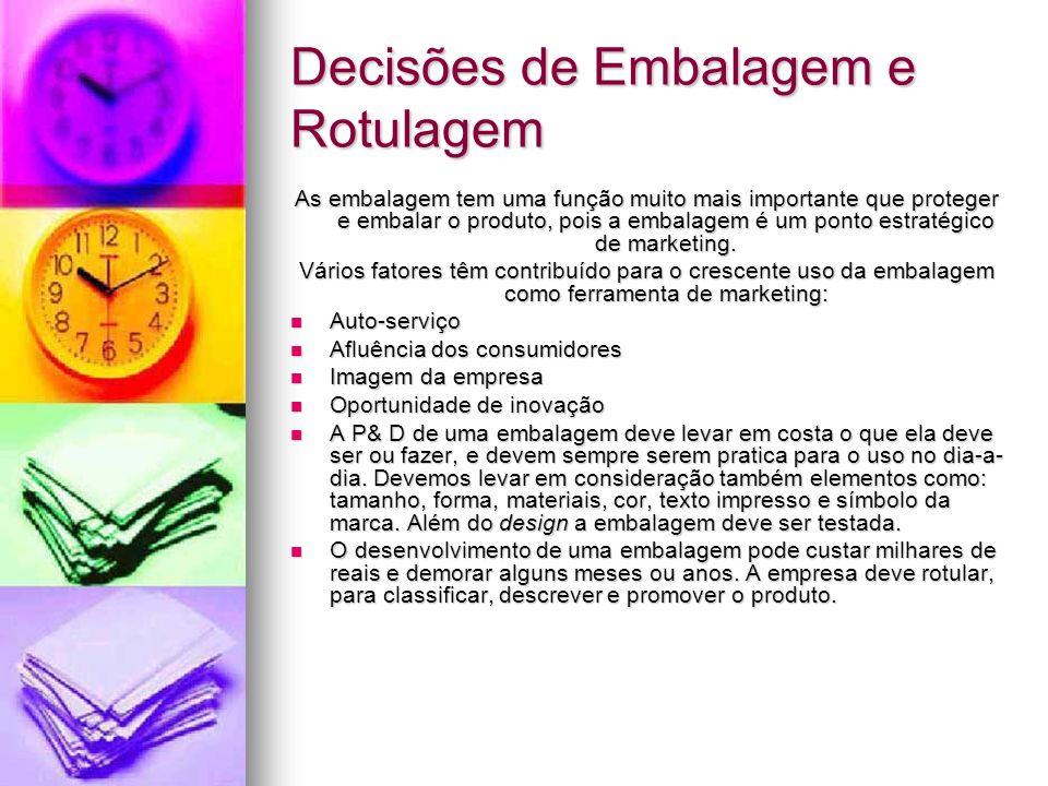 Decisões de Embalagem e Rotulagem