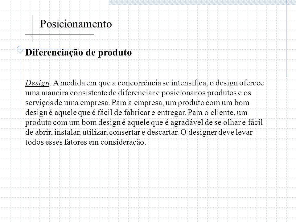 Posicionamento Diferenciação de produto