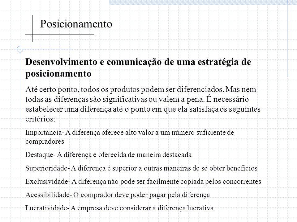Posicionamento Desenvolvimento e comunicação de uma estratégia de posicionamento.