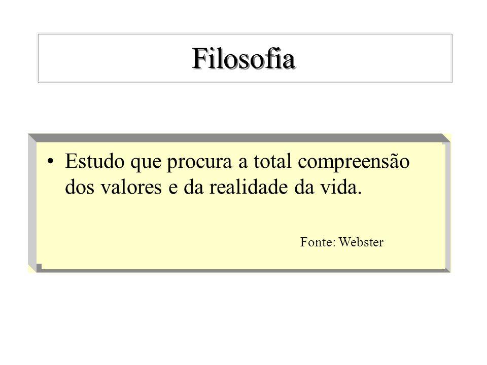 Filosofia Estudo que procura a total compreensão dos valores e da realidade da vida. Fonte: Webster