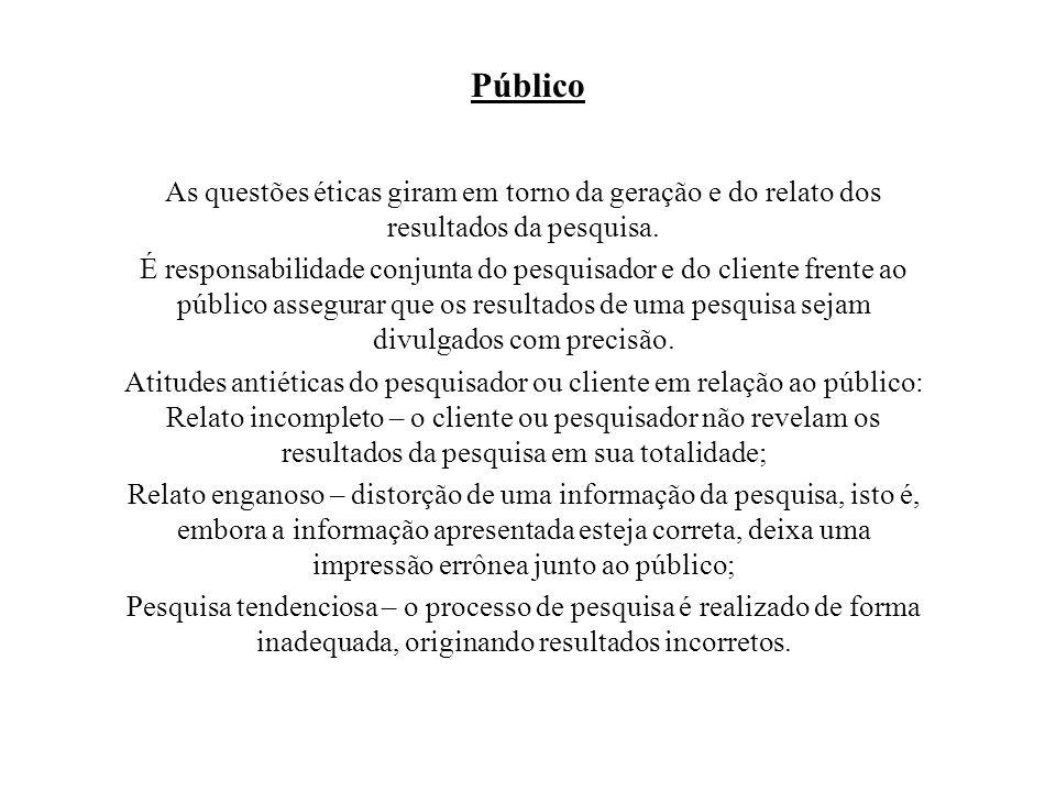 Público As questões éticas giram em torno da geração e do relato dos resultados da pesquisa.